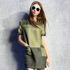100-Linen-Women-Fashion-Casual-Loose-Casual-Green-Khaki-Patchwork-Short-Sleeve-Dress-2015-Spring-Summer