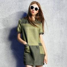 100-Linen-Women-Fashion-Casual-Loose-Casual-Green-Khaki-Patchwork-Short-Sleeve-Dress-2015-Spring-Summer