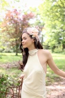 Peachy-vintage-Bridal-mini-hat-handmade-silk-flower-birdcage-veil-5